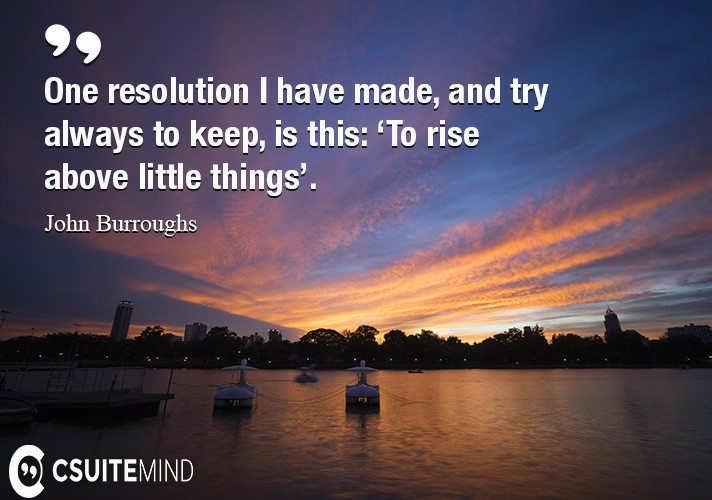One resolution I have made, and try always to keep, is this: 'To rise above little things'.