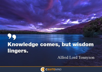 Knowledge comes, but wisdom lingers.