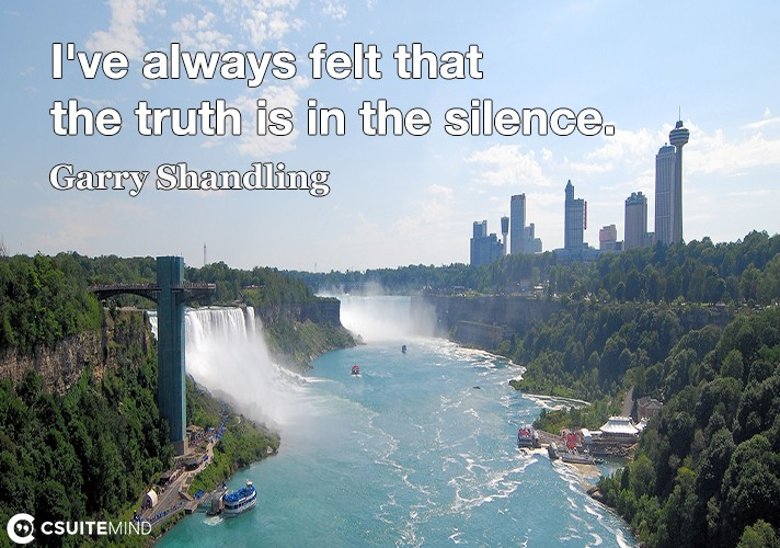 I've always felt that the truth is in the silence.