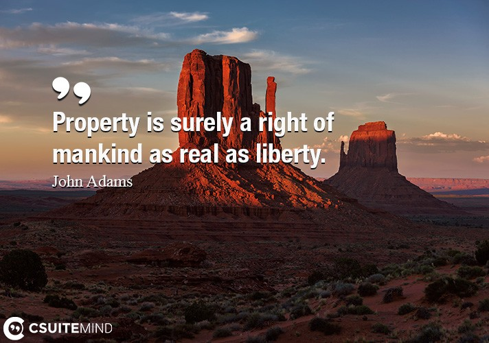 Property is surely a right of mankind as real as liberty.